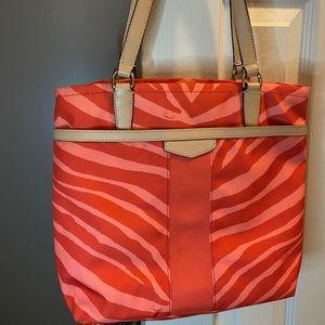 Coach coral zebra print purse